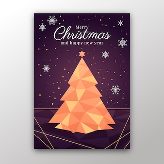 Christmas poster template in polygonal style