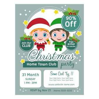 Christmas poster template ribbon decoration kids characters