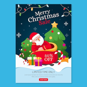 Christmas poster template for sales with illustrations