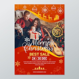 Christmas poster template for sales with photo