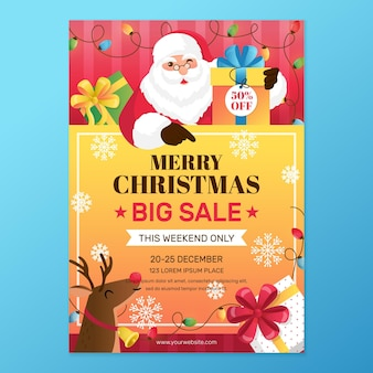 Christmas poster template for sales