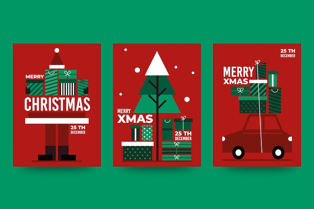 Christmas poster template with colorful geometric shapes