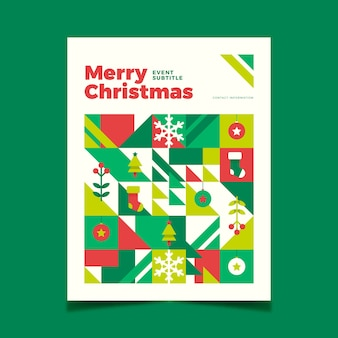 Christmas poster template with colourful geometric shapes