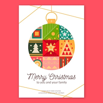 Christmas poster template with geometric models