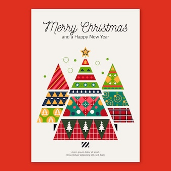 Christmas poster template with geometric shapes
