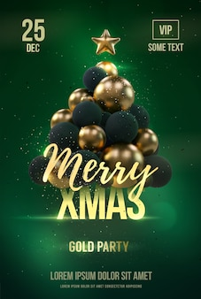 黄金のクリスマスツリーとクリスマスポスターテンプレート。
