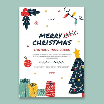 Рождественский постер шаблон