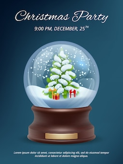Christmas poster. transparent crystallizing magic snowglobe christmas party invitation  placard template