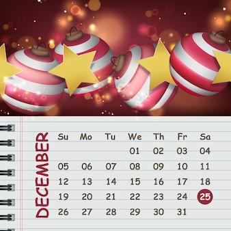 크리스마스 공과 달력용 빈 메모지가 있는 크리스마스 포스터