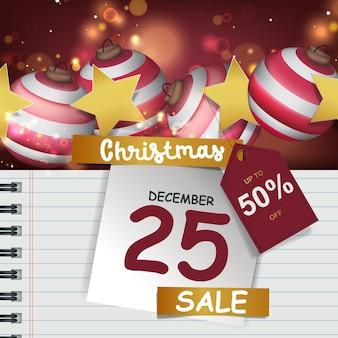 플래시 판매를 위한 크리스마스 공과 빈 메모지가 있는 크리스마스 포스터