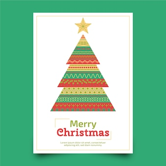 Christmas poster with colorful geometric shapes template