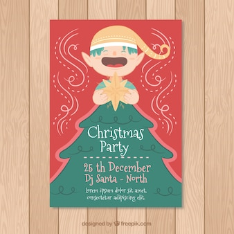 Christmas poster with fun elf