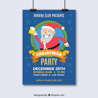 Christmas poster with funny santa claus