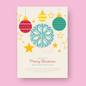 Christmas poster with geometric shapes of christmas balls