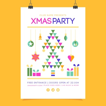 Christmas poster with geometric shapes