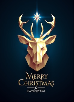 Christmas poster with golden low poly deer head and glowing star between horns