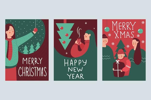 행복 한 가족과 여자 만화 세트 배경에 고립 된 크리스마스 포스터.