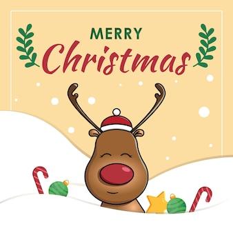 순록 벡터와 크리스마스 포스터
