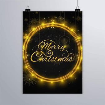 Christmas poster with shiny golden rings