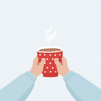 Christmas poster with two hands holding a cup of hot drink.