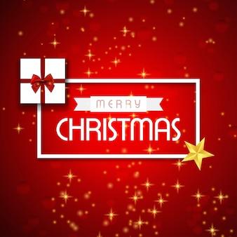 타이포그래피와 giftbox와 붉은 추상적 인 배경에 스타 크리스마스 포스터
