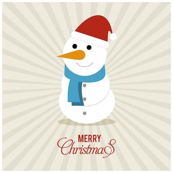 타이 포 그래피와 일출 배경에 눈사람 크리스마스 포스터
