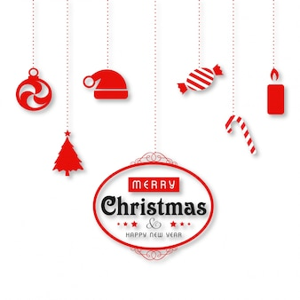 Christmas poster with typography and hanging christmas objects on white background