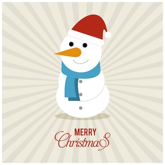 Christmas poster with typography and snowman on sunrise background