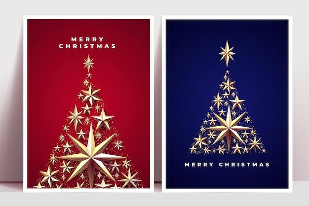 Christmas posters or greeting cards design template with christmas tree silhouettes composed of golden christmas decoration elements such as stars and confetti
