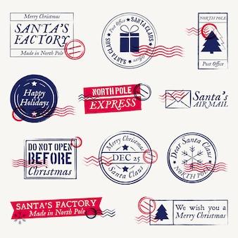 Christmas postmarks, santa claus stamps set