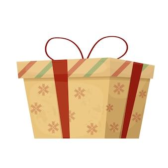 Коробка для рождественских подарков, украшенная лентами, снежинками и полосами в мультяшном стиле