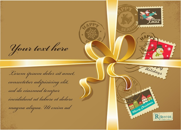 Christmas present box with colorful stamps and golden ribbons.  background for greeting card, banner or poster