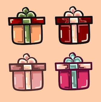 Christmas present vector doodle illustration with various color