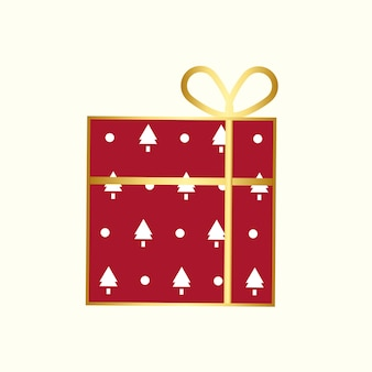 Christmas present with a golden ribbon vector