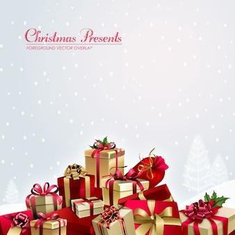 크리스마스 선물 전경 일러스트 오버레이