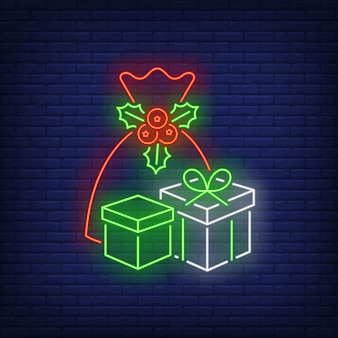 Christmas presents in neon style
