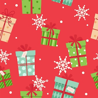 Christmas presents seamless pattern, different boxes with ribbons.
