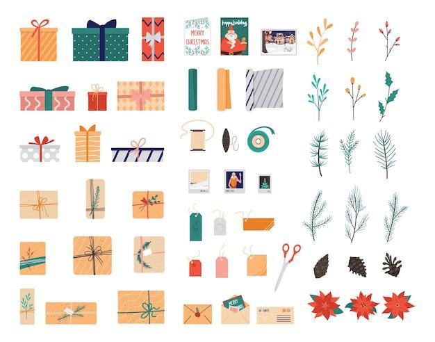 クリスマスプレゼントラッピングコレクションセット。パッケージコレクション