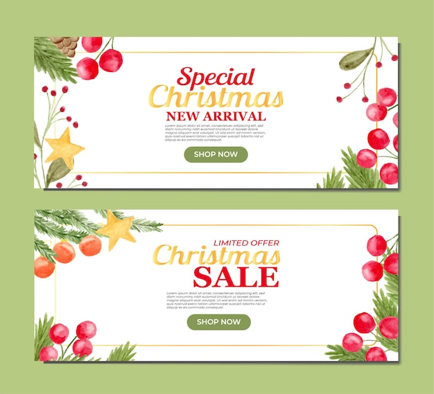 Christmas product promotion banner with hand painted floral watercolor as background