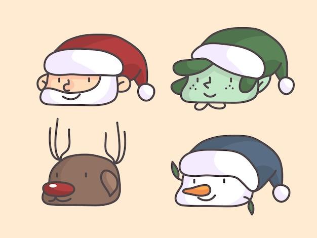 Рождественский профиль изображение элементов санта, карлик, снеговик и олень