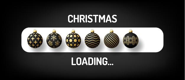 비문이 있는 크리스마스 진행률 표시줄 - 크리스마스 로딩 및 장식된 공이 현실적인 스타일로 표시됩니다. 벡터 일러스트 레이 션 디자인, 포스터, 인사말 카드, 새 해 장식