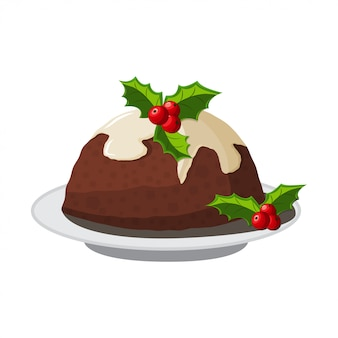 Christmas pudding with holly berry cartoon