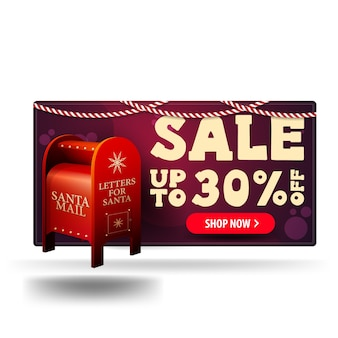 Christmas purple 3d discount banner with santa letterbox with presents isolated