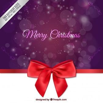 Рождество фиолетовый фон с бантом