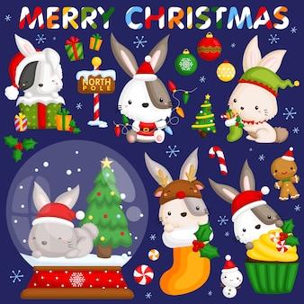 Christmas rabbit image set