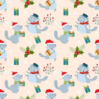 Christmas raccoon and gift seamless pattern.