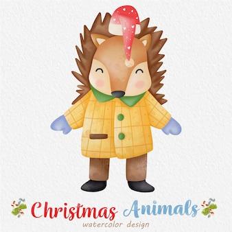 종이 배경으로 크리스마스 너구리 수채화 그림. 디자인, 지문, 패브릭 또는 배경용