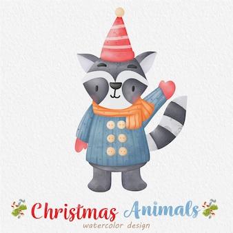 종이 배경으로 크리스마스 너구리 수채화 그림