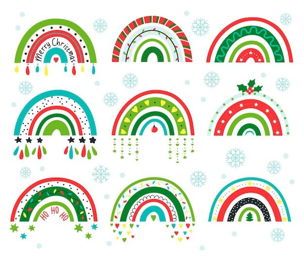 Christmas rainbows in boho style. cartoon style