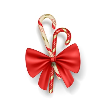 Christmas realistic candy lollipops and red bow